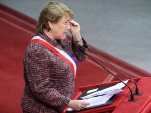 Presidenta Bachelet. En el discurso del primero de mayo del 2015