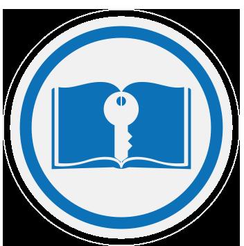 en la imagen se aprecia un icono de un libro con una llave