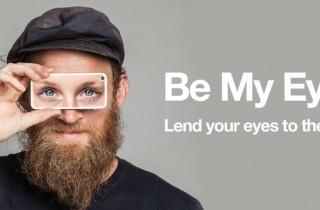 En la imagen se ve a un hombre sosteniendo un smarphone en sus ojos, con unos ojos dibujados sobre el
