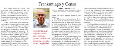 Transantiago y Censo, columna Mario Waissbluth La Segunda
